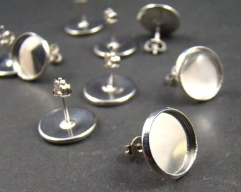 20pcs Silver  Earring Posts With Round 12mm Pad EA320