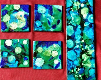 4 Blue/Green Alcohol Ink Ceramic Tile Coasters plus Trivet Set