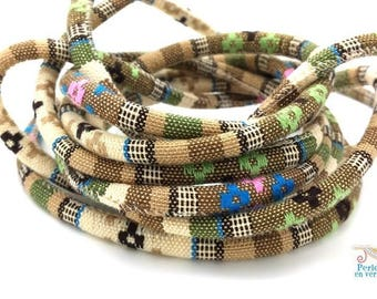 BEIGE/KHAKI: 1 m cord weaving ethnic diameter 6mm (fil110)