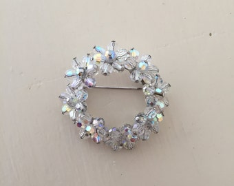 Floral Wreath brooch | 1950s sparkly glass brooch | vintage 50s circle of flowers pin