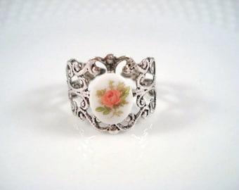 Pink Rose Ring - Silver Filigree - Adjustable Ring - Flower Jewelry - Rose Ring