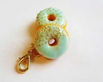 Vanilla Donut Charm - Donut Necklace - Donut Earrings - Polymer Clay Food Jewelry - Miniature Food Charm - Donut Bracelet - Donut Jewelry