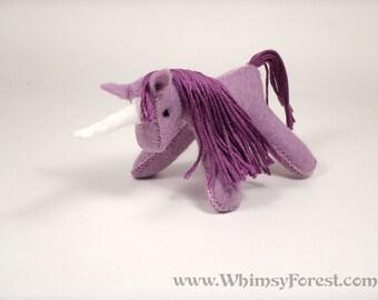 Miniature Lavender Felt Unicorn Toy