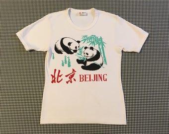 1980's, thick cotton, Beijing, Panda bear, tee, in white, Women's size Small