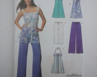 Halter dress/summer/spaghetti strap top/wide leg pants/2007 sewing pattern, Bust 32 34 36 38 40 42 44, Size 10 12 14 16 18 22, New Look 6683