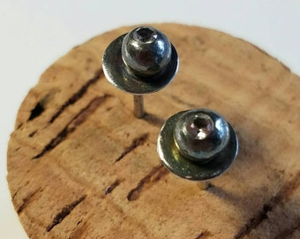 Small recycled sterling silver pebble and disc earrings with white topaz