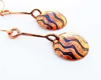 Rivers Etched Copper Domes OOAK Dangle Earrings