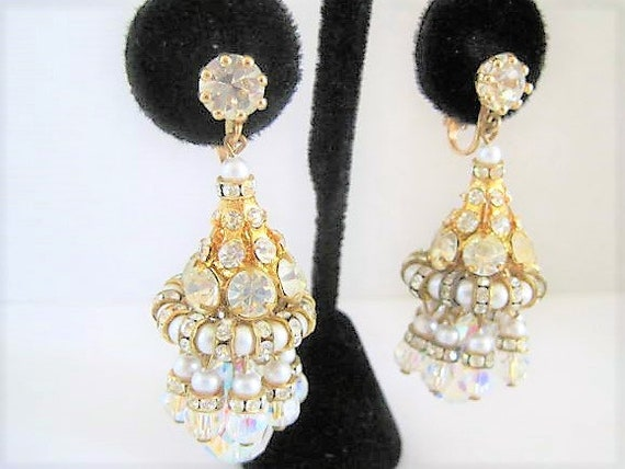 Crystal Rhinestone Earrings, Faux Pearls, Austrian Crystals, Elegant Clip Ons