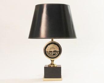 Unique Maison Jansen Brass Lamp With Shade Mid Century