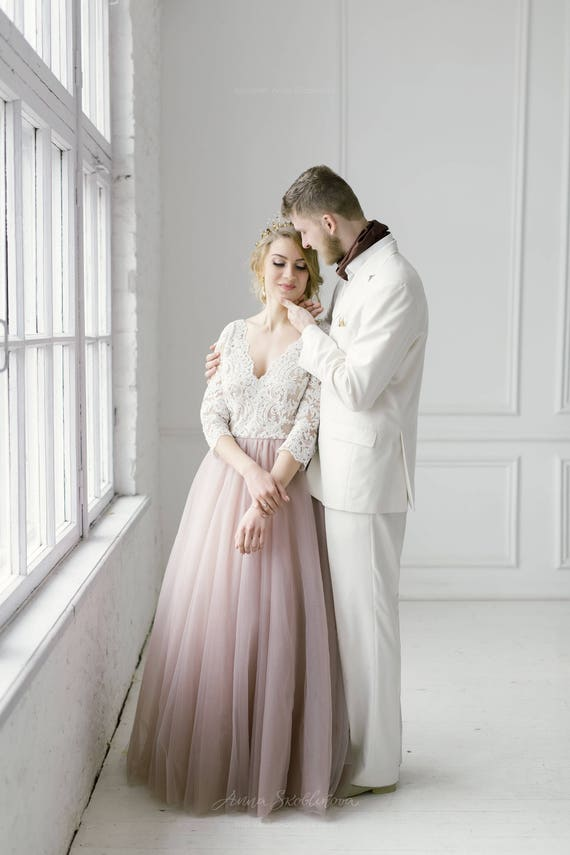 Erröten rosa Brautkleid erröten Kleid Tüll Brautkleid