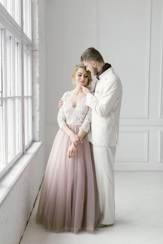 Blush wedding dress pink wedding dress blush gown tulle