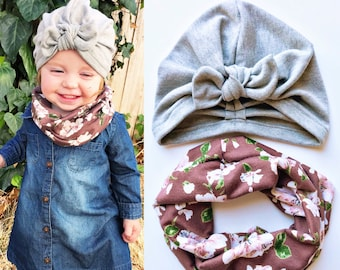 Winter's Blush Set: {2 items} Heathered Gray Sweater Baby Hat & Mauve Blooms Baby Scarf