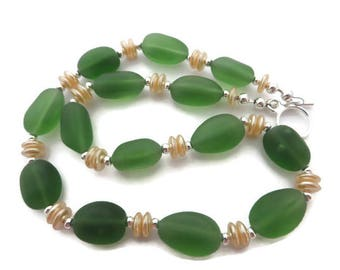 Green Sea Glass Necklace, Green Beach Glass Necklace, Green Necklace, Lime Green Beaded Necklace, Recycled Glass, Green and White Necklace
