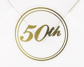 50 Gold 50th Anniversary Stickers, Wedding Anniversary Envelope Seal Stickers Shiny Metallic Gold 50th, Clear Stickers Gold Foil 50th