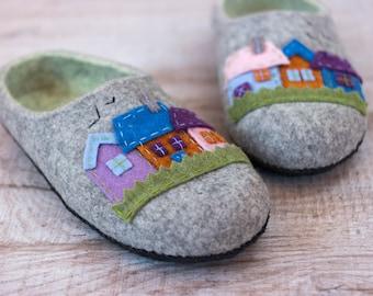 Birthday gift for husband felt slippers best friend gift Wool slippers for him felted slippers House Shoes gift for him House Slippers