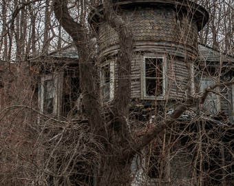 """Abandoned Building Photography, Nature, Decor, 6 1/2 x 9 1/2 & 13x19 prints, """"Witch Hat House"""""""