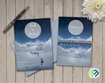 Moonlight Wedding Invitation Starry Night Wedding Invitation Blue Invitation Moon Themed Wedding Invites Romantic Elegant Wedding Printable