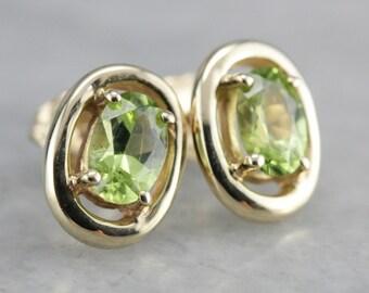 Peridot Stud Earrings, Yellow Gold Studs, Simple Earrings, August Birthstone XNAKD381