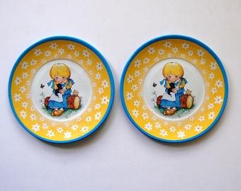 Vintage Tin Plates, Little Girl With Kittens, Ohio Art Toy Dishes, Vintage Kids Kitchen Plates