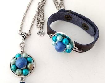 Gift Set, Necklace Bracelet Set, Blue Necklace, Blue Bracelet, Necklace Set, Bridesmaid Set, Blue Jewelry, Something Blue, Recycled Jewelry