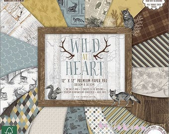 "Lot 16 leaves 20 X 20 cm ""Wild At Heart"" background papers (ref.110) *."