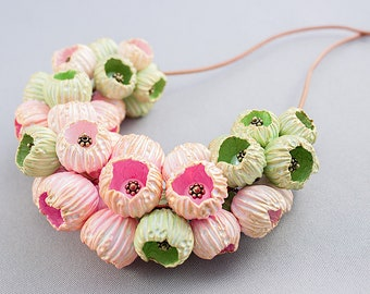 Necklace polymer clay Large beads necklace Pink and light green beads Spring necklace Boho necklace Beads on leather cord
