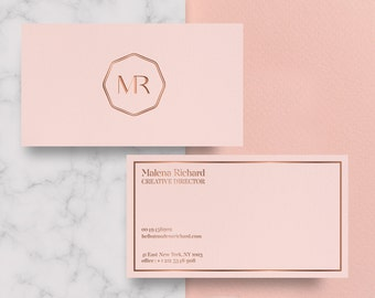 Business card design etsy business card template rose gold printable business card design pink business card rose flashek Gallery