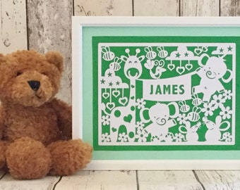 Framed, personalised double colour mount animals paper cut