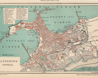 Alexandria map etsy antique city map of alexandria egypt from 1893 gumiabroncs Images