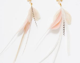 Feather Earrings. Gold Flower Stud Blush Pink and White Natural Feather Earrings. Long White Stripe Dangle Earrings. Spring Fashion 022