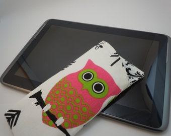 eyeglass/sunglass case soft case pink green black  white owls