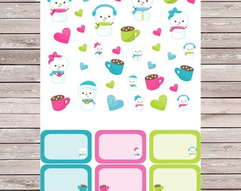 Winter Snowman with 6 Half Boxes Planner Stickers, Erin Condren Planner Stickers, ECLP, Filofax, Kikki K, Mambi, Happy Planner
