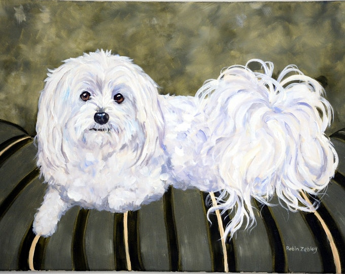 "Custom Painting of your Dog, Portrait, Large 18"" x 24"" oils on stretched canvas"