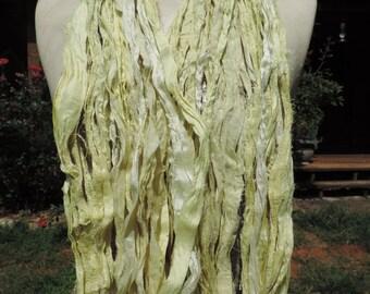 Beautiful And Soft Yellows Colored Sari Ribbon Yarn 55-60 Yards