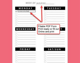 Weekly Checklist - Fillable & Printable  - Black n White Check List with circle check boxes 3 hole punch ready for Binder 8.5 x 11 inches