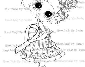 INSTANT DOWNLOAD Digi Stamps grote Eye Big hoofd poppen Digi Bestie lint van hoop door Sherri Baldy