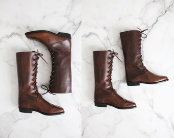lace up boots / leather boots 5 / size 4.5 boots