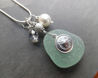 Sea Glass Necklace Sterling Sand Dollar Beach Jewelry Sea Foam Sterling Pendant