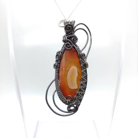 Fiery Orange Carnelian Jewelry for Women | Oregon Carnelian Stone Pendant Necklace | Mixed Metal Wire Wrapped | Copper & Sterling Silver