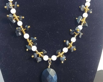 Statement necklace, Moonstone and Obsidion