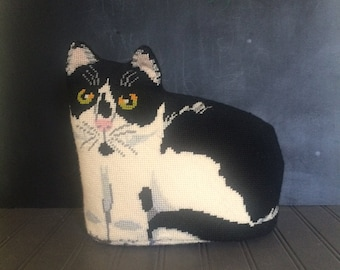 Vintage Needlepoint Cat Doorstop Decorative Pillow Black and White Cat Door Stop.