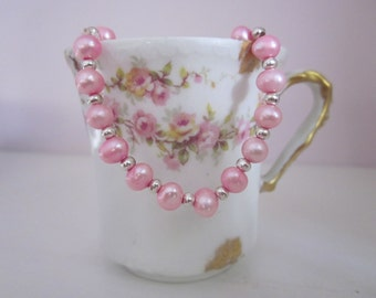 Pretty Pink Fresh Water Pearl and Pewter Bracelet