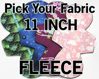 Pick Your Fabric 11 inch- Long Cloth Pad - Choose Fabric and Absorbency - Fleece Back, Postpartum mama cloth, Overnight cloth pad