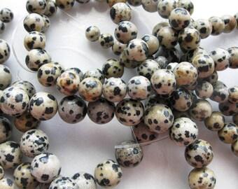 8mm Dalmation Jasper Round Beads - 16 inch strand