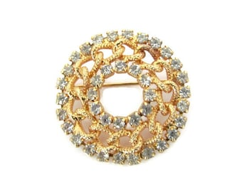 Vintage Circle Brooch, 1970's Gold, Rhinestone Circle Brooch, Pin, 1970's Brooch, Jewelry