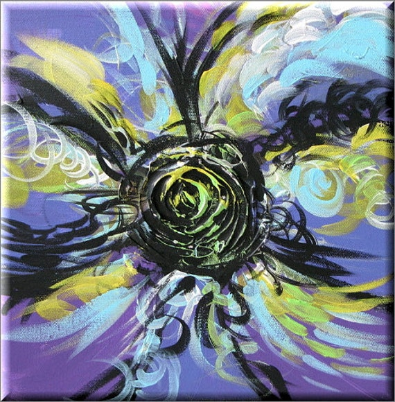 "Purple floral painting, flower art, daisy canvas painting, pop art, still life painting, Sexy Purple Orchid Painting 12""x12"" Yin Lum YINART"