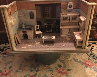 Antique German Kitchen Room Dollhouse rare kitchen window stove wall shelves children dollhouse collection