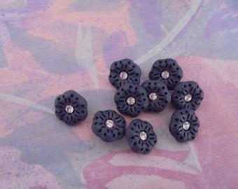 Set of 7 Blue Vintage buttons 15 mm plastic