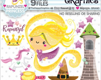 Princess Clipart, 80%OFF, Princess Graphics, COMMERCIAL USE, Rapunzel, Princess Party, Rapunzel Party, Tangled Graphics, Cute