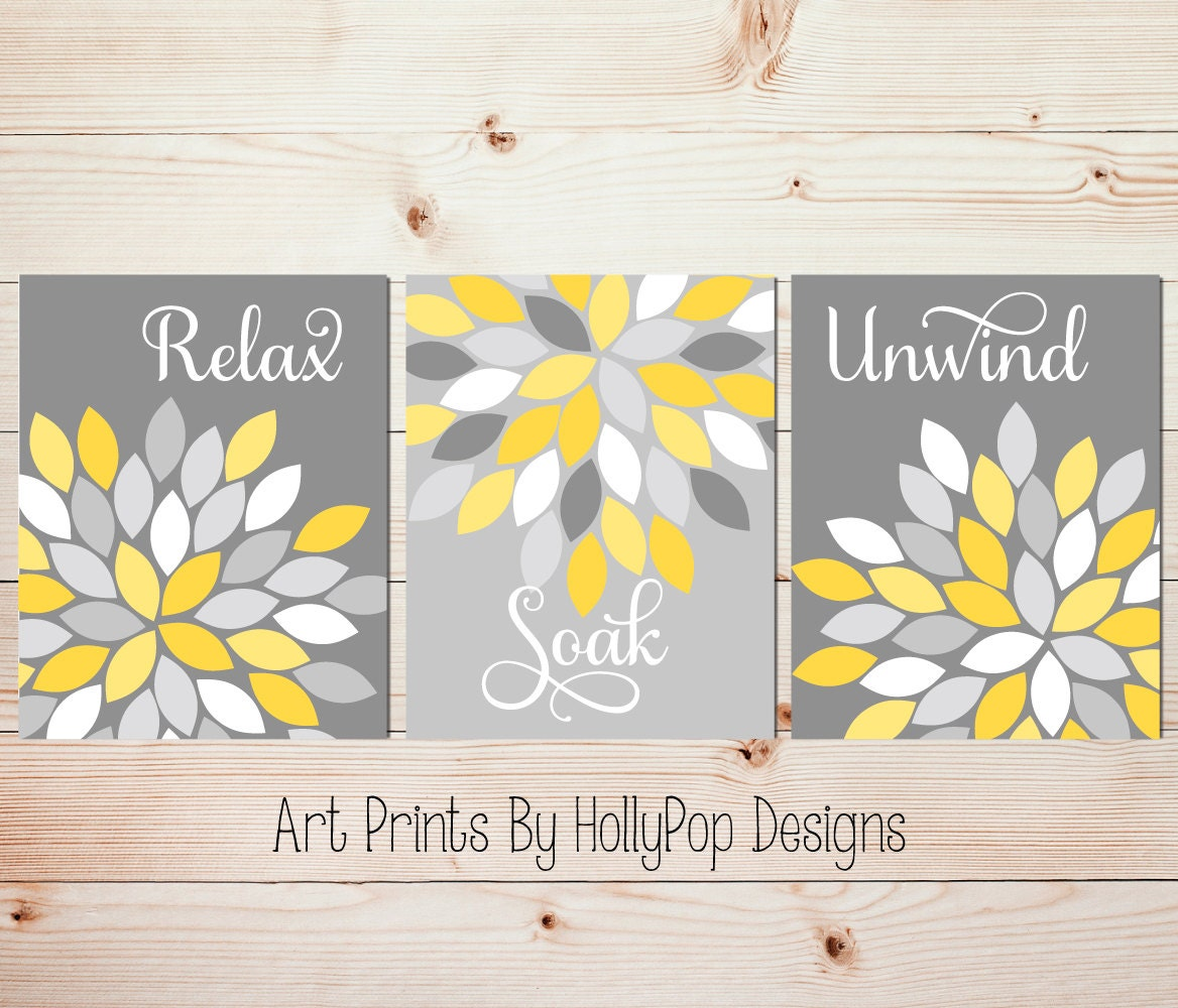 Yellow Gray Wall Art Set of 3 Bathroom Prints Bathroom Wall